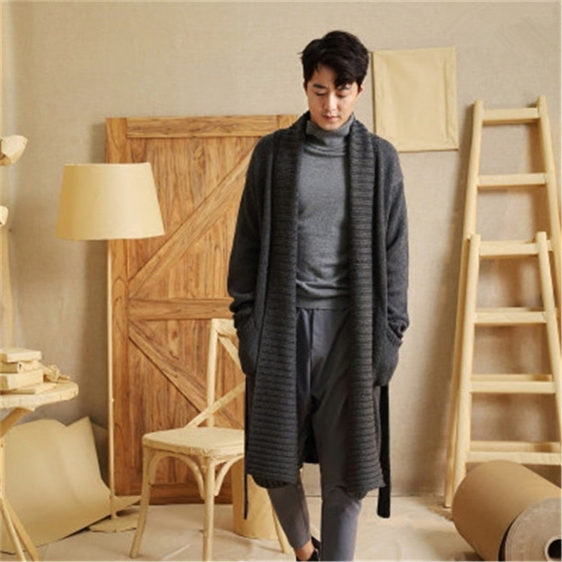 New Fashion 100% Hand Made Pure Wool Turn-down Collar Knit Men Solid H-straight Loose Long Cardigan Sweater One&over Size
