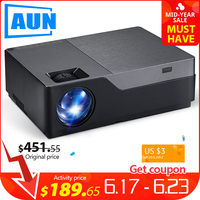 AUN Full HD Projector M18UP, 1920x1080 Resolution. Android WIFI LED Projector, For 4K Video beamer. (Optional M18 Support AC3)