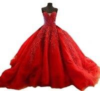 Лучшее Красное Бальное платье Реальные Фото Платья Кружева Свадебное Платье Дешевые Платья Плюс Размер Платья 2017