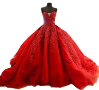 Best Red Ball Gown Real Photo Dresses Lace Bridal Gown Cheap Gowns Plus Size Dresses 2017