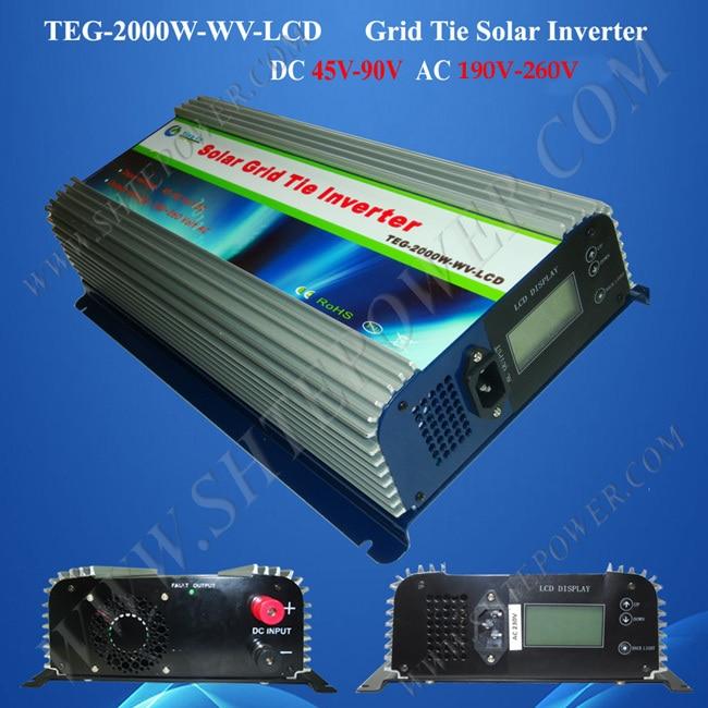 2KW grid tie solar inverter, grid tie pv inverter 2000 watts dc 45v 90v input to ac 220v, 230v, 240v output