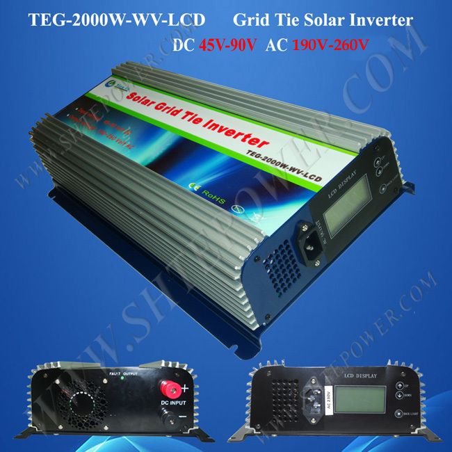 2KW grid tie solar inverter, grid tie pv inverter 2000 watts dc 45v-90v input to ac 220v, 230v, 240v output 260w dc 22 50v to ac 110v 120v 220v 230v waterproof power inverter pv solar grid tie inverter