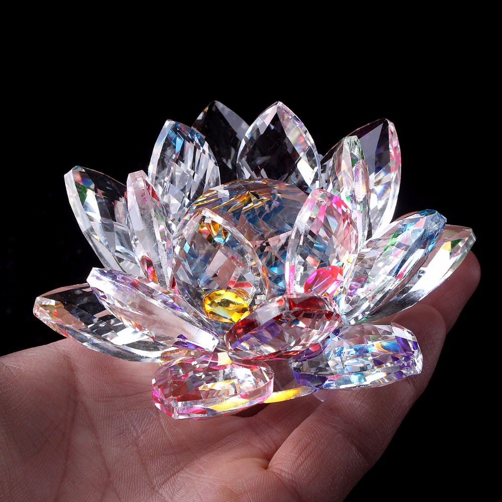 Free Shipping 7 Colours 100mm K9 Crystal Lotus Flower For Home
