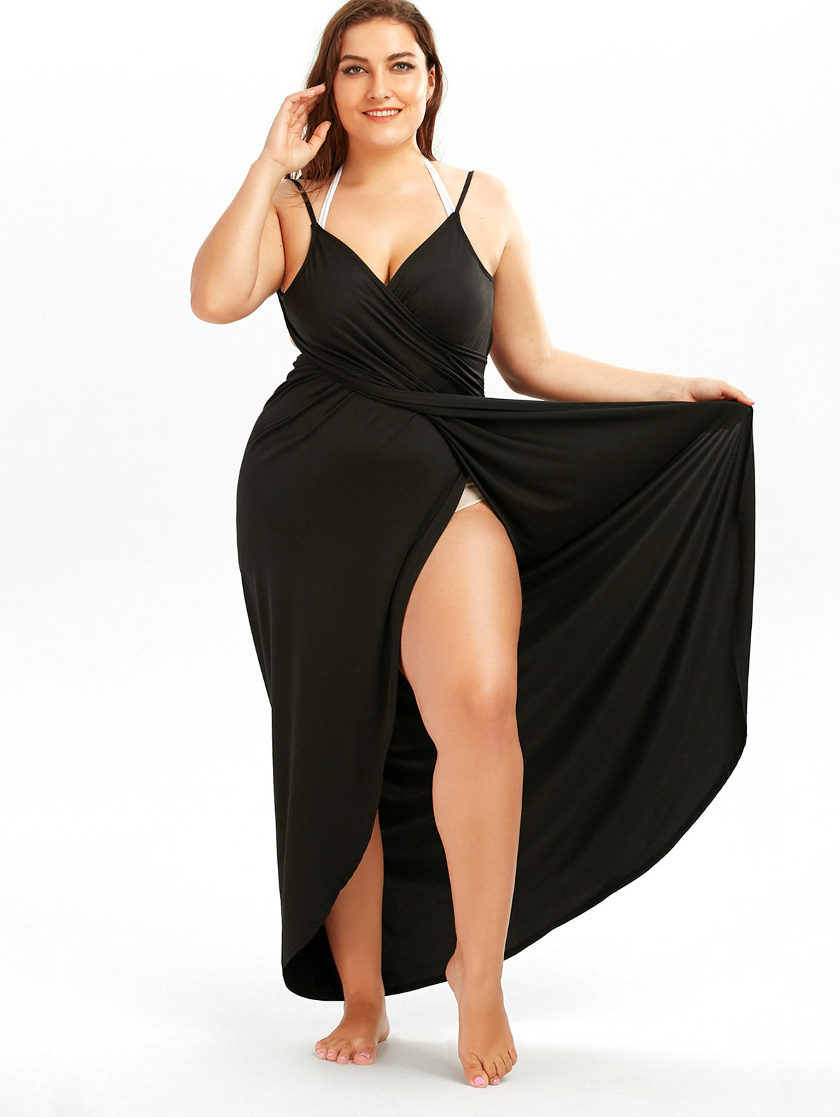 612790c6f9742 Wipalo 2018 Summer Sexy Plus Size 5XL Beach Wrap Cover Dress Long Split  Backless V Neck Maxi Casual Beach Dress Vestidos