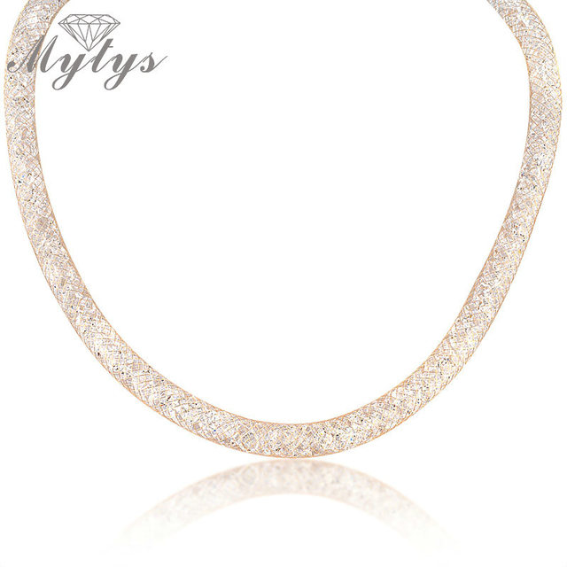 Mytys Wedding Bridal White Cubic Zircons Gold Mesh Necklace CZ  Gold GP Gold GIFT for Women N373