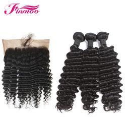 Глубокая волна бесплатная доставка бразильские волосы remy 13*6 Фронтальная Закрытие Кружева Фронтальная с человеческие волосы для