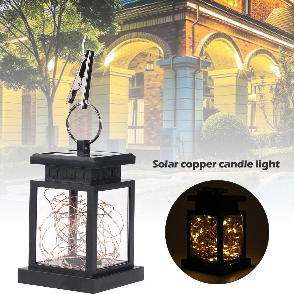 LED Solar Copper Wire Candle Light Garden Landscape Light Outdoor Waterproof Lawn Lamp Festive Party Wedding Decor Lantern