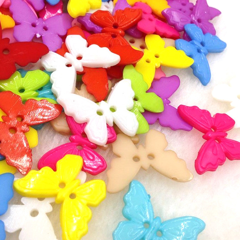 10/50/100pcs Mix Butterfly Plastic Buttons 22mm Sewing Craft 2 Holes PT108