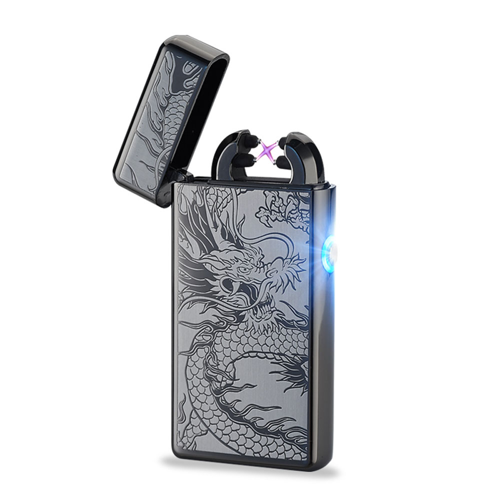 Metal Windproof Cigarette Lighter Electric Pulse Double Arc Lighter Electric Plasma USB Charging Cigar Smoking Lighter