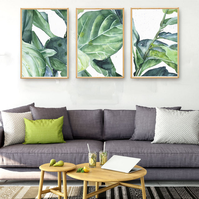Tropical Plants Banana Leaves Ink Art Canvas Poster Modern Minimalist Living Room Family Decor Painting Background