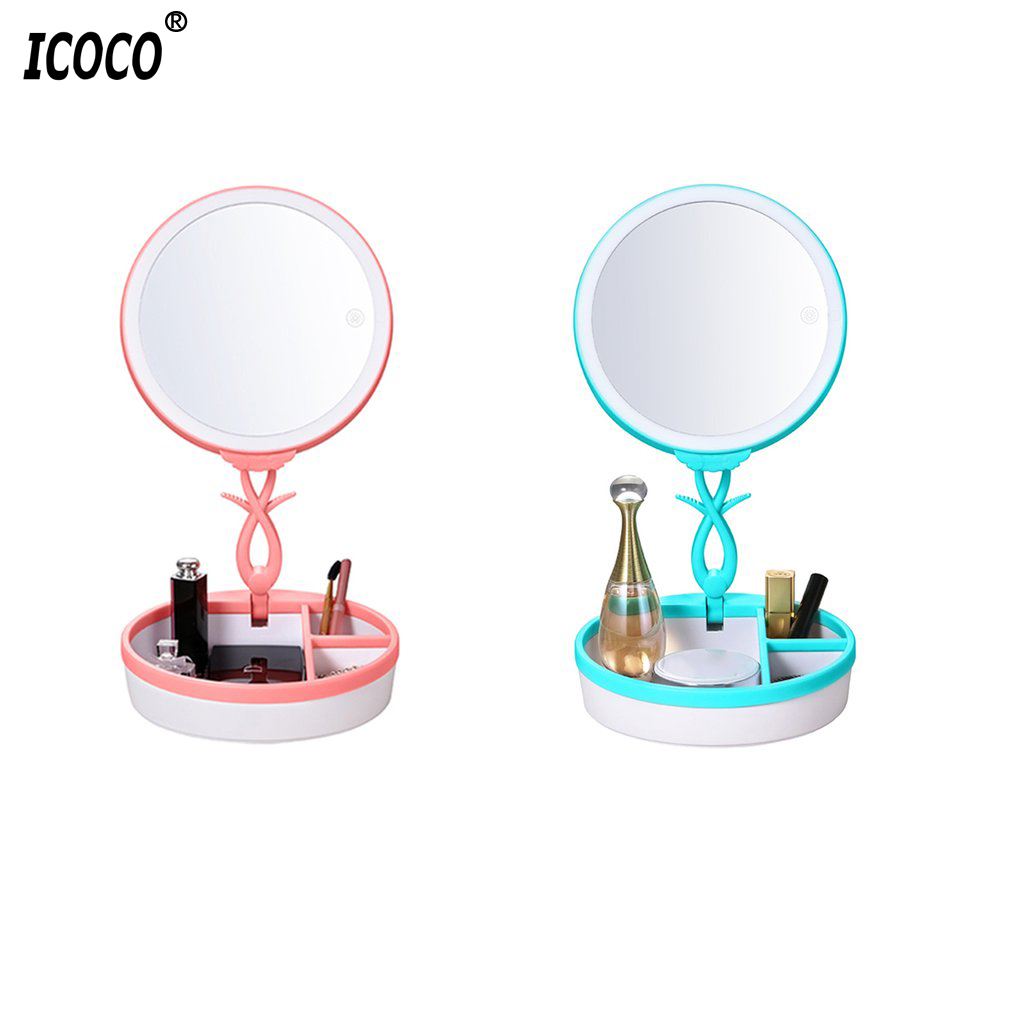 ICOCO USB Charging LED Touch Screen Desktop Makeup Mirrors Professional Travel Small Beauty Countertop Mirrors Brand New