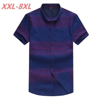 2018 NEW Large Size 8XL 7XL 6XL 5XL Mens Print Summer Blue Short Sleeve Lapel Male