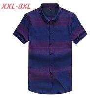 2018 NEW Large Size 8XL 7XL 6XL 5XL Mens Print Summer Blue Short Sleeve Lapel Male