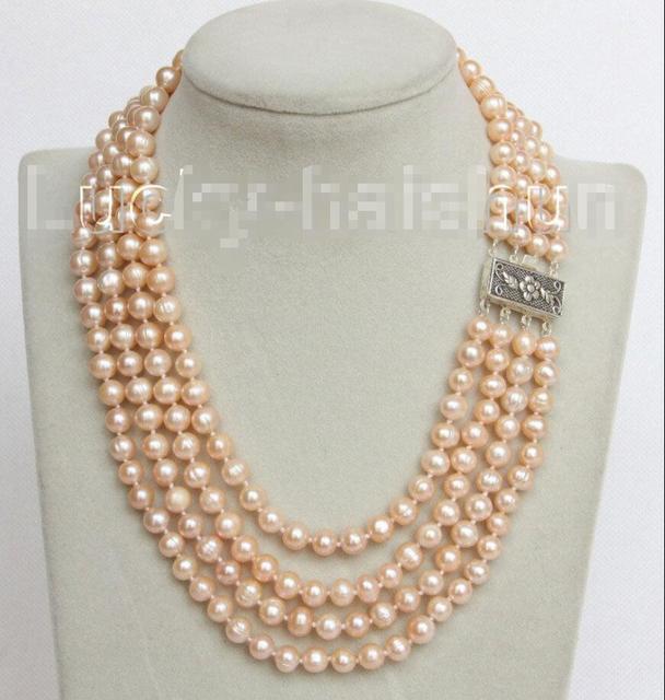 """Venda Hot new Style >>>>> 16 """"4 Strand 8mm rosa colar de pérolas FW 925 fecho de prata j10681"""
