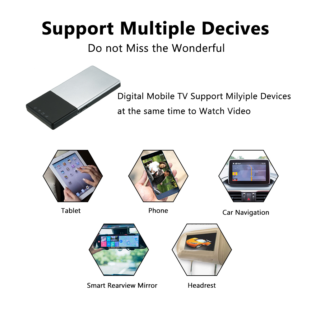 Portable HD Wifi TV Box DVB-T/T2 Mobile Digital TV Turner Receiver Car Home Outdoor for iOS Android Freeview TV hot digital car tv tuner dvb t2 car tv receiver hdmi 1080p cvbs dvb t2 support h 264 mpeg4 hd tv receiver for car free shipping