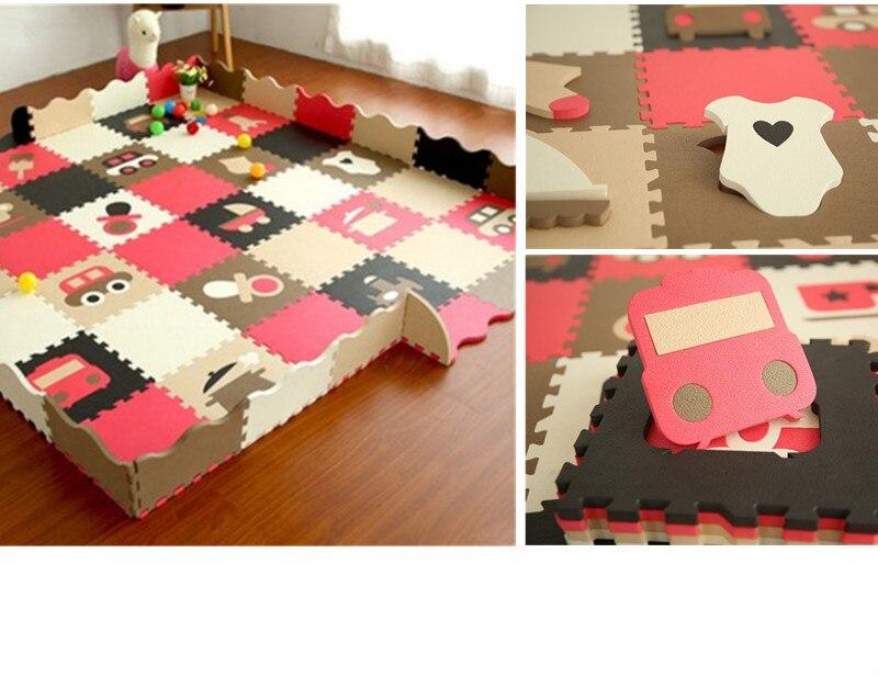2016 Promotion vente Tapete Infantil belle Eva 30*30 cm 12 pièces/ensemble Puzzle tapis bébé tapis de jeu avec sol clôturé enfants mosaïque