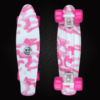 Free Shipping Mini Cruiser Printed Plastic Skateboard 22inch Retro Longboard Truck Skate Long Board Deck Skate