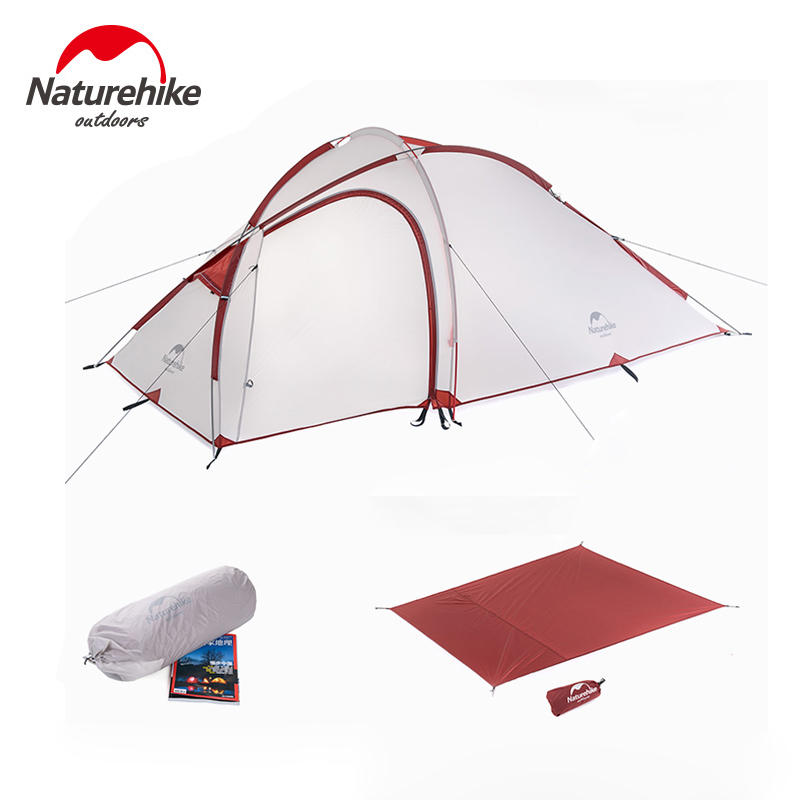 NatureHike Tent With Free Ground Mat 2-3 Person Family Tent Waterproof Camping Tents for Hiking Travelling Winter Fishing high quality outdoor 2 person camping tent double layer aluminum rod ultralight tent with snow skirt oneroad windsnow 2 plus