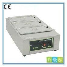 220 V Comercial 304 de Acero Inoxidable de Calentamiento de Agua Horno De Fusión de Chocolate Máquina De Chocolate Fusor 3 Cilindro