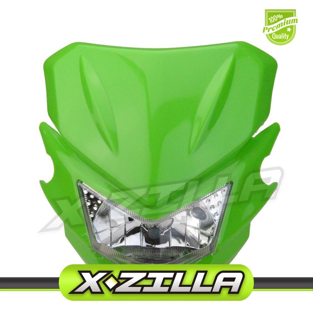 Motorcycle Dirt Bike Supermoto Universal Headlights Fairing Light Headlamp StreetFighter For KX125 KX250 KXF250 KXF450 KLX200 KL ...