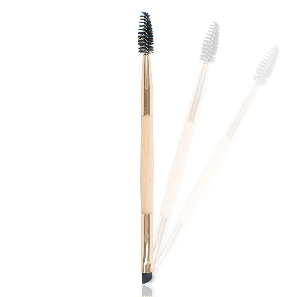 Mini Eyebrow Brush Duo Angle Brow Brush with Makeup Brushes Bamboo Handle Brush Angled Eyeliner Tool Beauty Instrument 2016 new arrival black dual purpose eyelash assist device extension beauty supplies brow brush lash comb makeup brushes tools