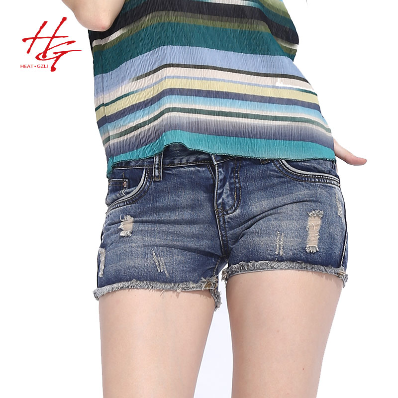 S09S  2016 summer tight denim shorts women destroyed cuffs skinny jeans  female blue and white tight shorts for girls