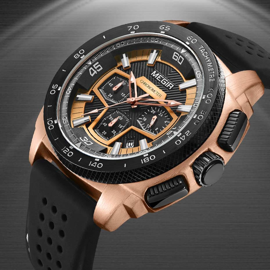 MEGIR Men's Casual Watches Silicone Band Waterproof Military Chronograph Sport Watch Waterproof Wristwatches Men Clock Jewelry