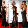 2015 Celebrity Dresses Mermaid One Shoulder Long Sleeves Black Lace See Through Evening Dresses Long Red
