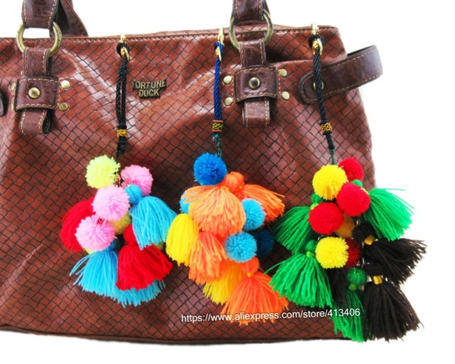 Handmade Bohemian Key Pom Charm Bag Hanger Trim Of Thai Indian Hmong Hippie Handbag Accessories Sp 001