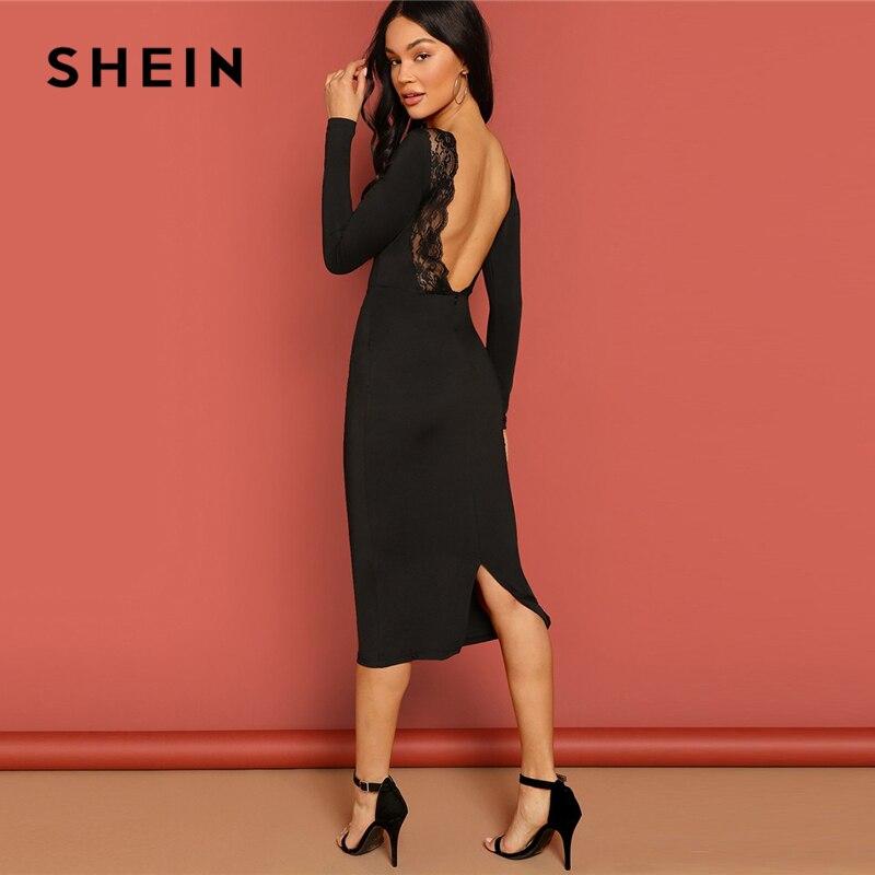 SHEIN Black Lace Trim Backless Bodycon Pencil Dress Elegant Knee Length Long Sleeve Summer 2019 OL Work Women Sexy Dresses
