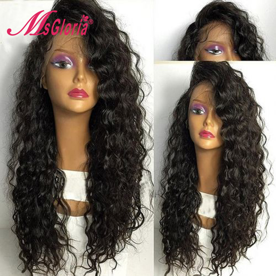 Msgloria Hair 180 Density 360 Lace Frontal Wig Brazilian Remy Curly Lace Front Human Hair Wigs
