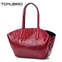 Tomubird 2017新しい女性本革バッグファッションローズエンボスリアルレザーアートバッグ女性のハンドバッグトートバッグ