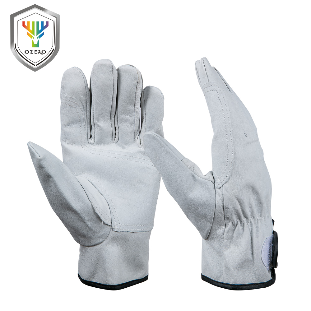 New Pig Skin Men s Work Driver Gloves High Magic Rope Leather Security ProtectionWear Safety Workers