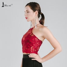 Missord 2018 Sexy round neck sleeveless halter wine color  top FT5103-A