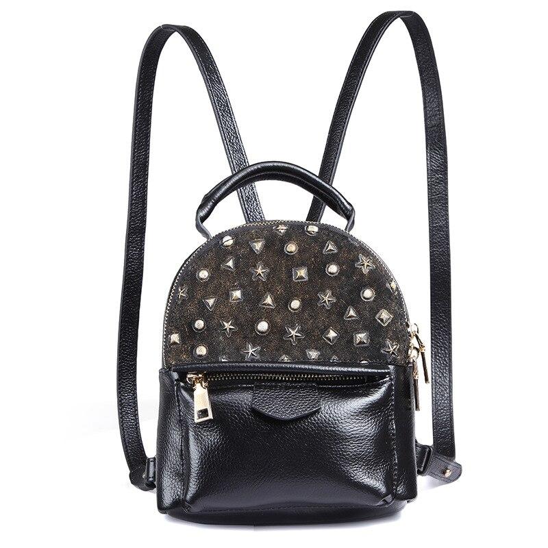 Mini Shoulder Bag Embossed Feet Star Leather Shoulder Bag Lychee Striped Cowhide Backpack Fashion Street Style