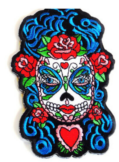 Sugar Skull Woman Roses Day of the Dead Dios De Los Muertos Chopper Outlaw MC Embroidered