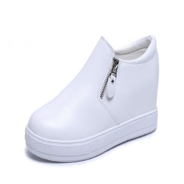 2017 Autumn Korean Version Of The Lok Fu Women 's Casual Shoes  White Red Black Fashion Shoes With Zipper .DFGD-B66