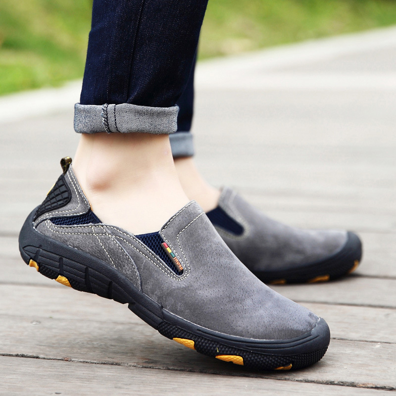 Genuine Leather Sneaker Men Casual Shoes Zapatos Hombre Flats Moccasins Loafers Mans Footwear Slip On Fashion Male Shoes AET615