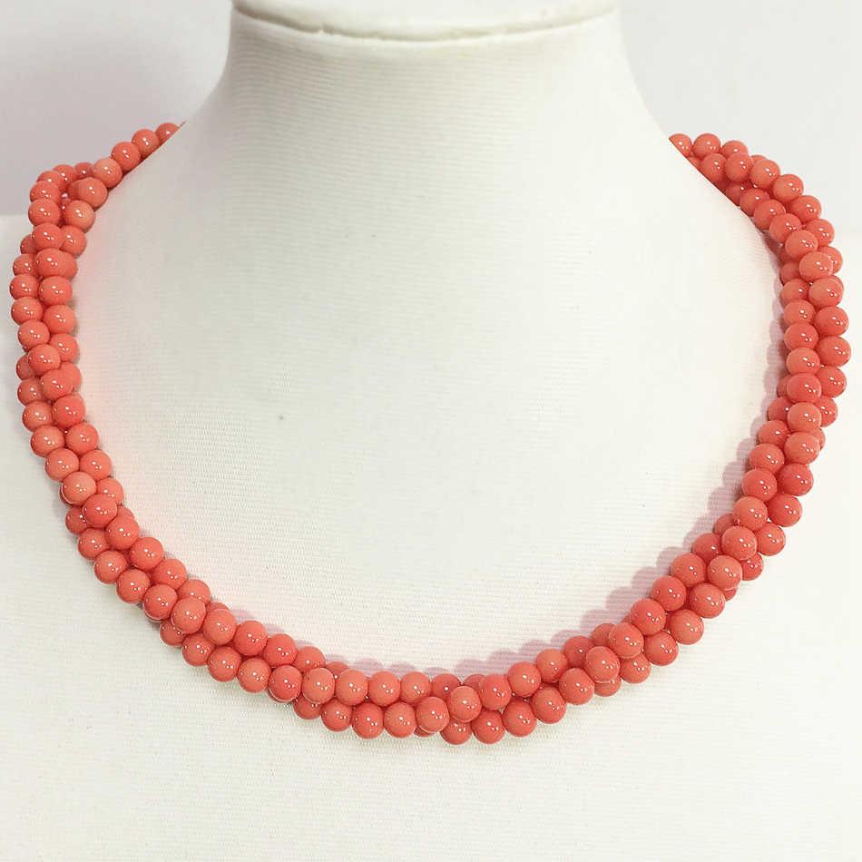 Прекрасный розовый имитация оранжевый Коралл 6 мм, круглые бусины 3 ряда ожерелье для женщин модные подвески Горячая распродажа ювелирные изделия 18 дюймов B1513