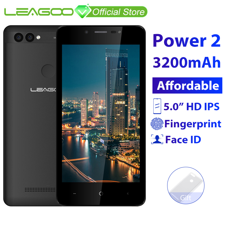 """LEAGOO POWER 2 Mobile Phone Android 8.1 5.0""""HD IPS 2GB RAM 16GB ROM MT6580A Quad Core Dual Camera Fingerprint ID 3G Smartphone-in Cellphones from Cellphones & Telecommunications"""