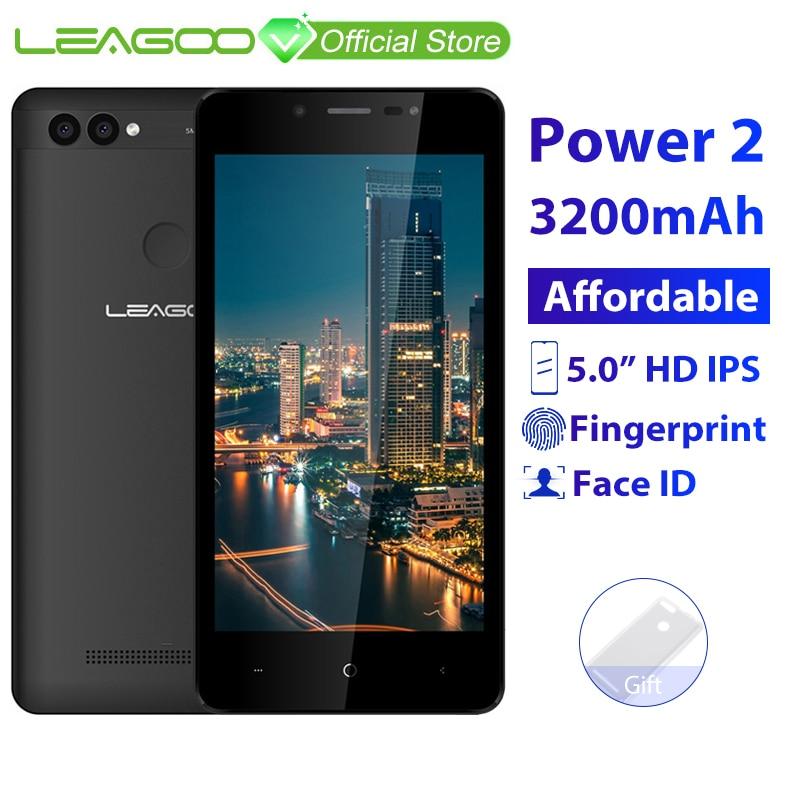 LEAGOO POWER 2 Mobile Phone Android 8.1 5.0″HD IPS 2GB RAM 16GB ROM MT6580A Quad Core Dual Camera Fingerprint ID 3G Smartphone