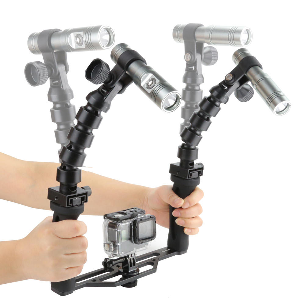 SHOOT Two Handle Underwater Tray Stabilizer with Dual Lumens Diving Video Light
