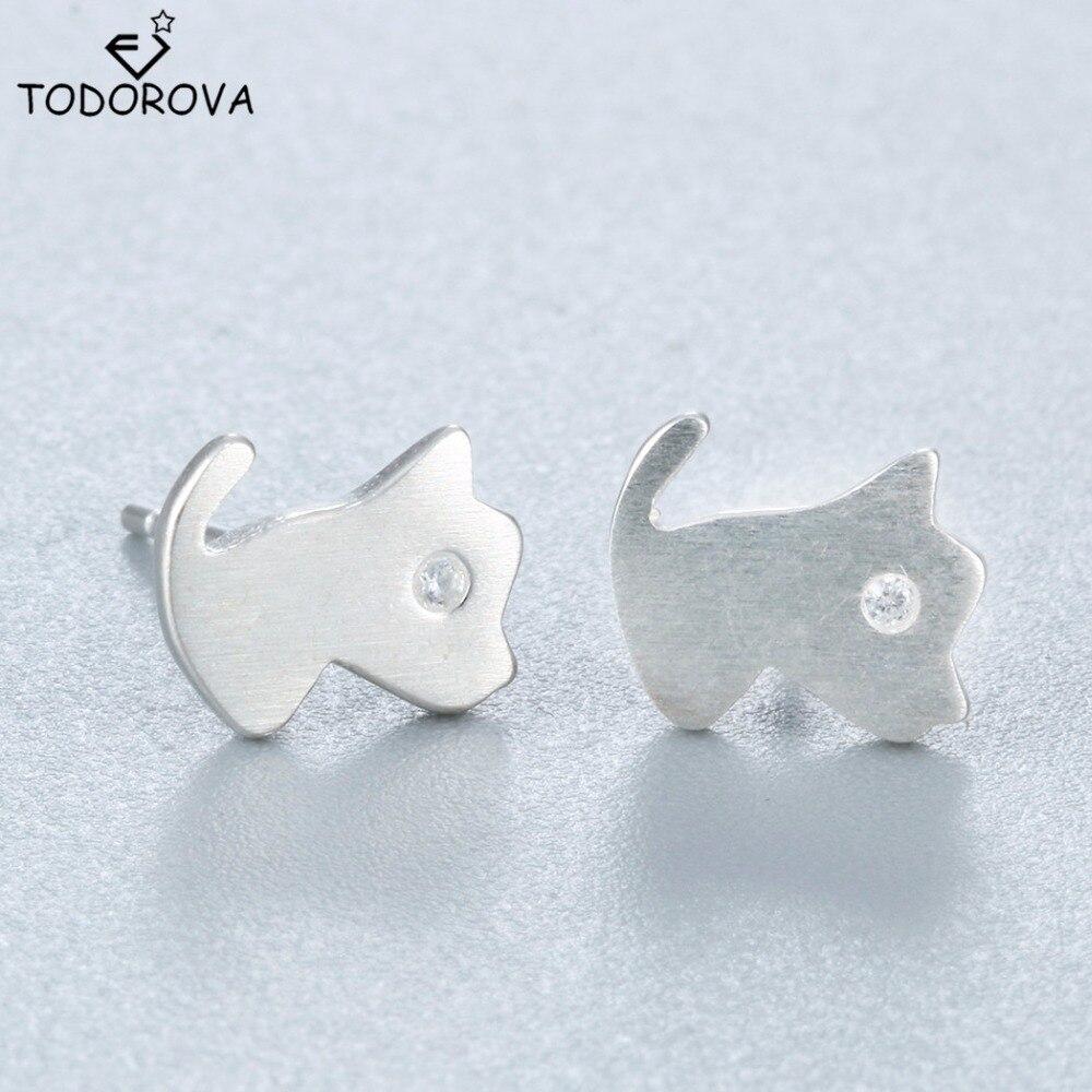 Todorova 925 Sterling Silver Cute Walking Cat Earrings For Women Girl  Lovely Kitty Stud Earrings Fashion