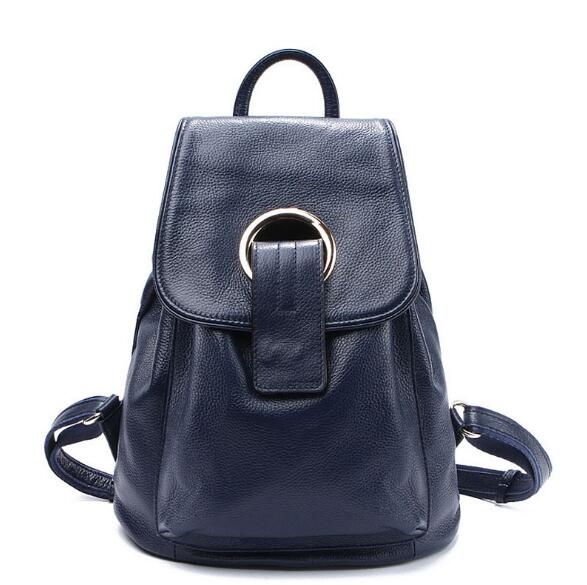 Genuine leather soft cow skin women fashion school backpack large bag