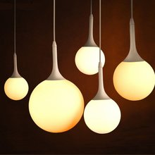 Modern Loft Glass Ball Pendant Light Nordic Living Room Bedroom Led Hanging Lamp Milk Lampshade dining room Cafe light fixtures nordic italy designer pendant light loft simpel ring hanging lamp creative studio living room cafe led glass ball light fixtures