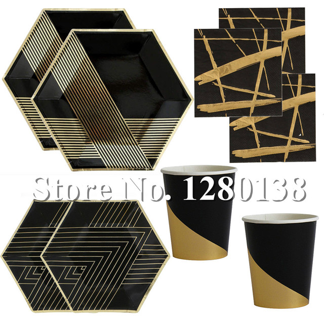 Blacku0026Gold Foil Paper Plates Dinner Napkins Disposable Cups First Birthday Decor Baby Shower Wedding Tableware Supplies  sc 1 st  AliExpress.com & Blacku0026Gold Foil Paper Plates Dinner Napkins Disposable Cups First ...
