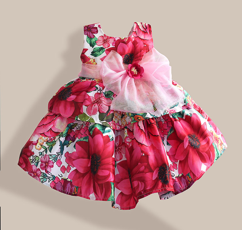 Super Bow Abiti per ragazze Fashion Silk Bow Rose Flower Stampa senza maniche Girl Party Dress abbigliamento per bambini vestidos infantis 1-6T