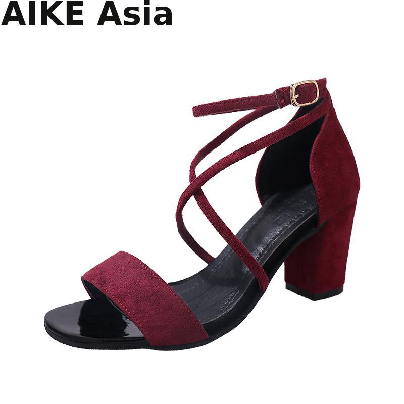 2019 Summer Women Sandals Open Toe Women's Sandles Thick Heel Women Pumps  Shoes Korean Style Gladiator Shoes High Heel #H6