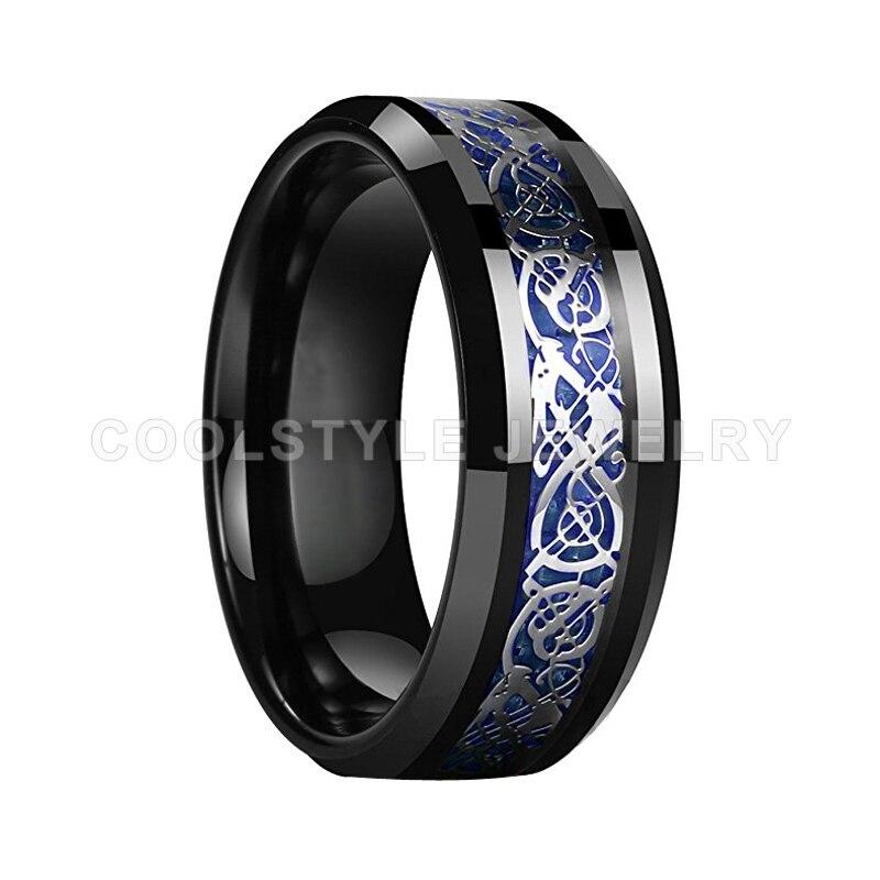 8 мм кольцо из черного вольфрама для мужчин и женщин обручальное кольцо с синим углеродным волокном серебряного дракона инкрустация