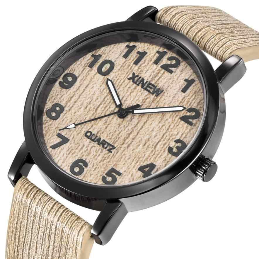 נשים גברים עץ מרקם שעון חיקוי עץ רטרו עור קוורץ שעון שעון עץ creative erkek saat גברים קוורץ שעון